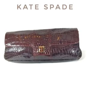 KATE SPADE Retired Croc Embossed Leather Clutch